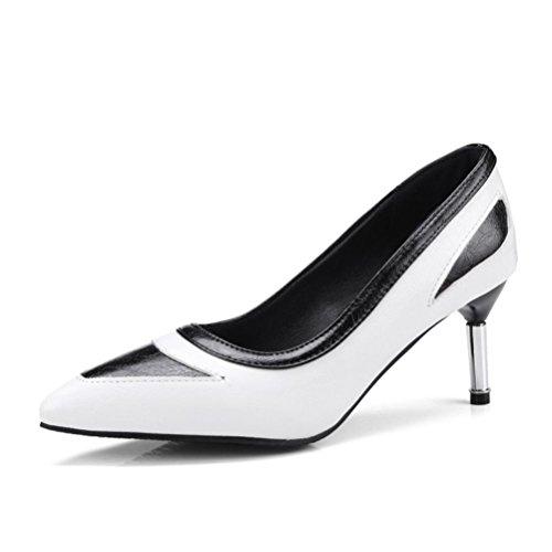 Las señalaron formal de color zapatos boca poco vestido deletreado el fino alto solo con de mujeres white fiesta de tacón pOInSpZ