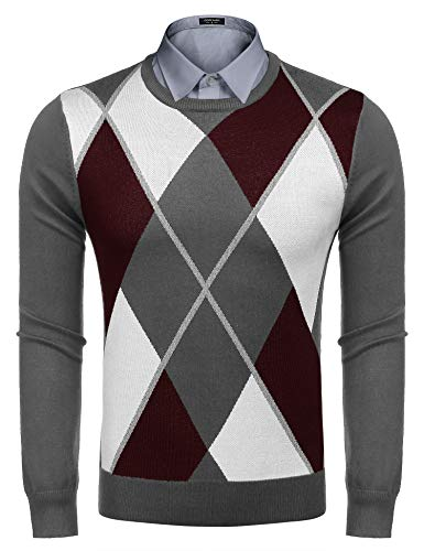 (COOFANDY Mens Casual Knitted ThermalPullover Lightweight Slim Fit Argyle)
