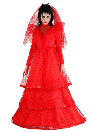 Women's Ghostly Wedding Dress Plus Size Red Gothic Wedding Dress Costume -