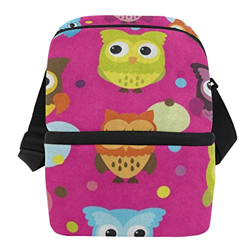 - Lunch Bag Cute Owl Polka Dot Insulated Cooler Bag Womens Leakproof Lunch Organizer Zipper Tote Bags for Work