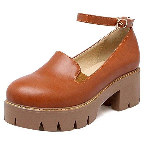 Coolcept Zapatos de Tacon Ancho de Tira de Tobillo para Mujer Brown