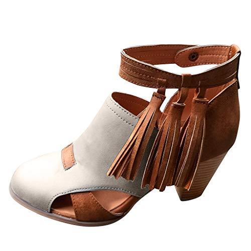 [해외]ZOMUSAR Women`s Boots Fashion Womens Retro Round Toe High Heeled Boots Fashion Tassel Belt Buckle Ladies Shoes / ZOMUSAR Women`s Boots, Fashion Womens Retro Round Toe High Heeled Boots Fashion Tassel Belt Buckle Ladies Shoes Gray