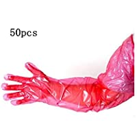 50pcs Disposable Veterinary Insemination Rectal Long Gloves Long Full Arm 85cm for Veterinary,red