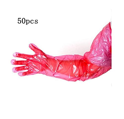 (50pcs Disposable Veterinary Insemination Rectal Long Gloves Long Full Arm 85cm for Veterinary,red )