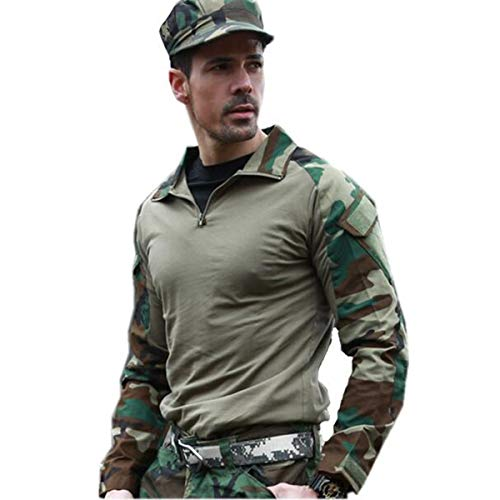 WINDCHASER Men's Military Rapid Assault Sleeve Slim Fit Long Sleeve Combat T-Shirt with Pockets