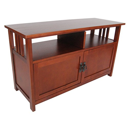 Mission TV Stand with Open Shelf and 2 Glass Doors, Cherry