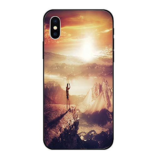 Phone Case Compatible with iPhone X BrandNew Tempered Glass Backplane,Adventure,Traveler Woman with Backpack on Mountain Surveying Sunset Adventure Photo Print,Multicolor,Anti-Shock and Shockproof ()