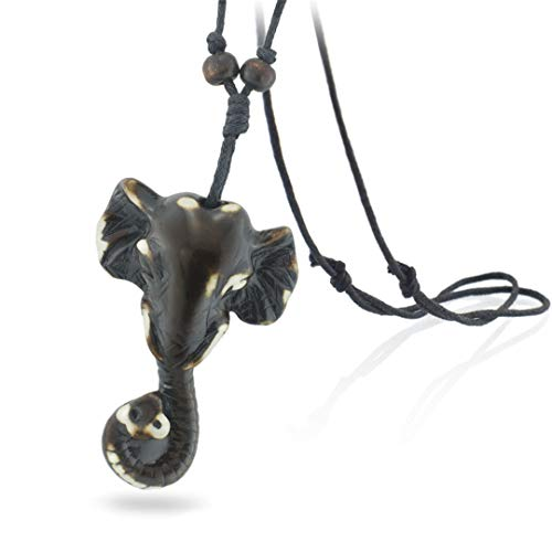 (Auspicious Imitation Yak Bone Carving Elephant Adjustable Cord Chain Unique Necklaces & Pendants For Women Men X554)