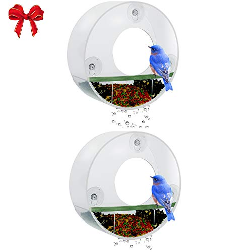Birdious 2-Pack Tube Window Bird Feeder – Watch Wild Birds from Home – Removable Tray, Large Squirrel Proof Birdhouse for Outside, Clear See Through, Strong Suction Cups – Decorative Round Design