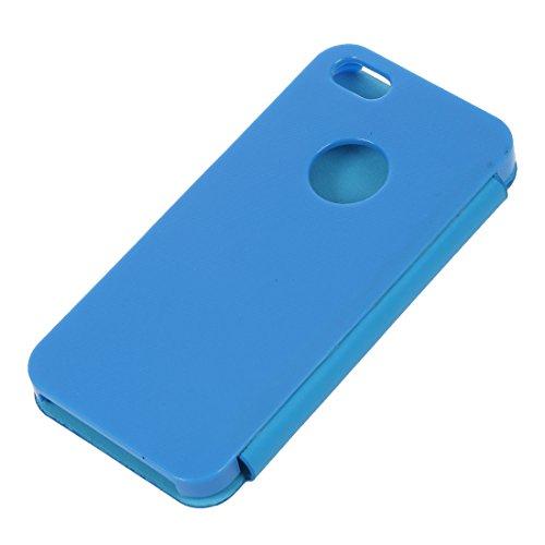 TOOGOO(R) Cubierta de caja completa dura de flip de cuero magnetico del tiron duro de la cubierta completa del caso para el iPhone 5 5S (celeste)