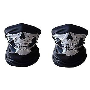 Electomania Men's Seamless Dustproof Windshield Elastic Skull Face Mask (Black) – Set of 2