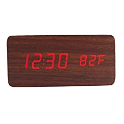 Gotd Rectangle Wooden Wood LED Alarm Clock, Voice Control Calendar Thermometer Wooden LED Digital Alarm Clock, USB Power Supply Cable Or 4PP AAA Battery (Battery not included) (M)