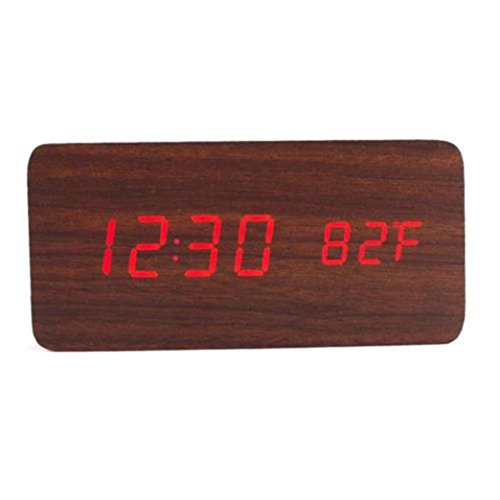 Gotd Rectangle Wooden Wood LED Alarm Clock, Voice Control Calendar Thermometer Wooden LED Digital Alarm Clock, USB Power Supply Cable Or 4PP AAA Battery (Battery not included) (M) by Goodtrade8 (Image #2)