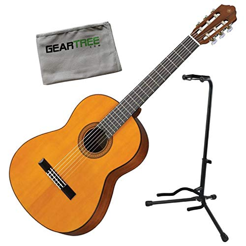 Yamaha CG102 Spruce Top Acoustic Classical Guitar Bundle w/Stand and Cloth - Classical Stand Yamaha