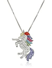 Carnevale Sterling Silver Unicorn Made with Swarovski Elements Pendant Necklace, 18""