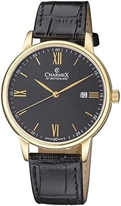 Charmex Luxury Men's 'Amalfi' Wrist Watch Stainless Steel Case and Black Leather Band — 42mm Analog Watch — Swiss Quartz Movement (Model: CX-3027)