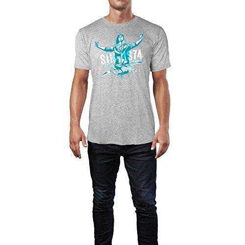 SINUS ART ® Grunge Gang Design mit Mann Herren T-Shirts in hellgrau Fun Shirt mit tollen Aufdruck
