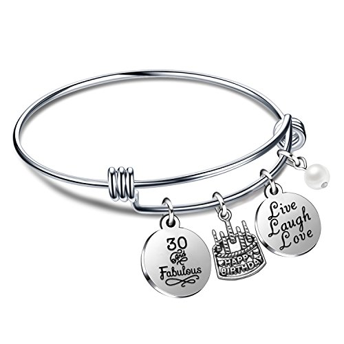 lauhonmin Birthday Gifts for Her Bangle Bracelets Live Laugh Love Charms for 13th 18th 21st 30th 40th 50th 60th (30th Birthday) (Best 30th Birthday Gifts For Best Friend)