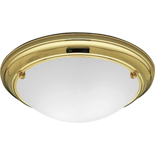 Progress Lighting P3561-10 Close-To-Ceiling Fixture with Satin-White Glass, Polished (Images Madison Madison Single)