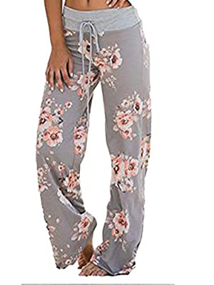WD-Amour Women's Comfy Stretch Floral Print Drawstring Palazzo Wide Leg Lounge Pants