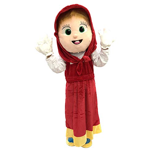 Funny Toys Performance Clothes Halloween Christmas Carnival Party Cosplay Mascot Costumes for Advertising Customized Suitable for Adults (fits for 160cm-180cm Tall, Masha and The Bear red)]()