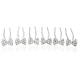 Rhinestone Bowtie Silver Tone Bridal Hair Pins (Pack of 12)