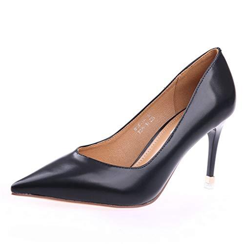 YMFIE Noires Chaussures de Travail Noires YMFIE Dames Printemps et Automne Style européen Pointu Couleur Unie Talons Aiguilles Chaussures Peu Profondes Bouche Mode 37 EU|black 1102fd