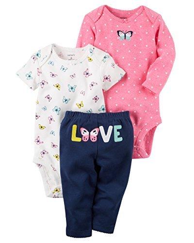 Carter's Baby Girls' 3 Piece Take Me Away Set, Butterfly Love, Newborn