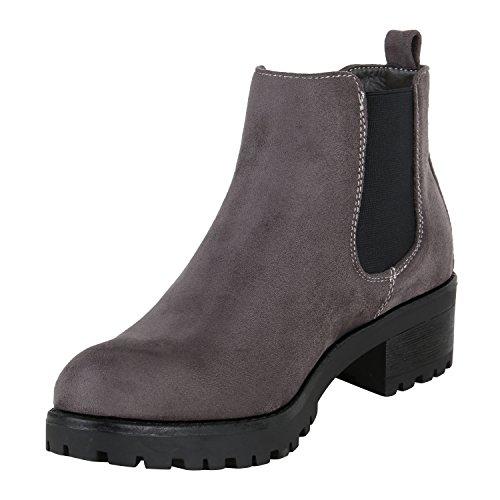Stiefelparadies Damen Stiefeletten Biker Boots Nieten Schuhe Flandell Grau Velour