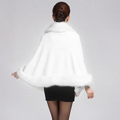Koly Imitación Collar Poncho estola capa abrigo suéter con capucha abrigo mujeres de blanco