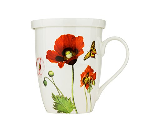 13 Oz Tea Cup With Lid and Infuser, Porcelain Coffee and Tea Mug with
