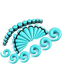 856store Fashionable 30 Pcs Spiral Tapers Plugs Big Gauges Kit 10-20mm Turquoise Stretching Set