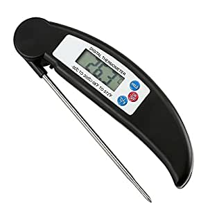 Food Thermometer, JATDON® Digital Instant Read Candy / Meat Thermometer With Probe For Kitchen Cooking, BBQ, Poultry, Grill --- [Foldable, Fast & Auto On/Off] Black