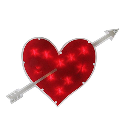 Valentine Window - Sienna Lighted Double-Sided Red Heart with Arrow Valentine's Day Window Silhouette, 18