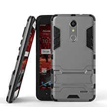 ZTE Grand X4 Armor Case DWaybox 2 in 1 Hybrid Heavy Duty Hard Back Cover Case with kickstand for ZTE Grand X 4 / ZTE Grand X4 Z956 5.5 Inch (Gray)