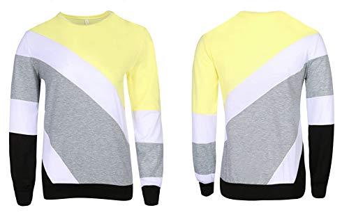 Col Femmes Shirts Pullover T Automne Pulls Shirts Blouse et Rond Fashion Jumpers Manches Tops Patchwork Longues Printemps Sweat Jaune Hauts SvEI6x5q