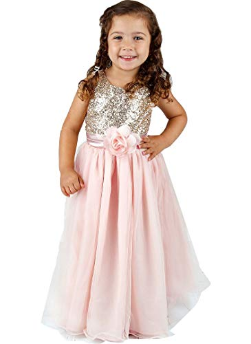 Bowdream Flower Girl's Dress Gold Sequins Blush Pink 5 Years