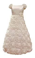 Calla Collection Little Girls' Ribbon Embroidered Rose Flower Dress 4 Ivory D702