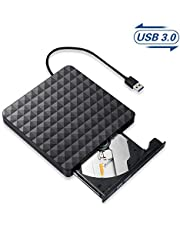 External CD DVD Drive,USB 3.0 Portable CD/DVD/ROM Optical Drive Player, High Speed Data Transfer Rewriter Burner Recorder for Laptop Desktop PC Computer Compatible with Windows 10/8/7/Linux/Mac OS