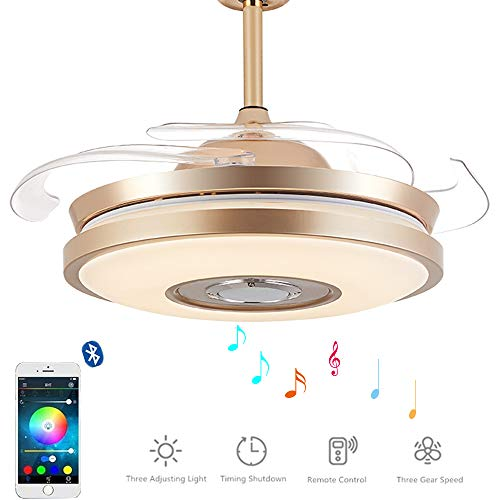 36 inch Retractable Ceiling Fan with Light and Bluetooth Speaker, 3 in 1 Invisible Blades Chandelier Fans with 7 Colorful LED Light for Dining Living Room Bedroom