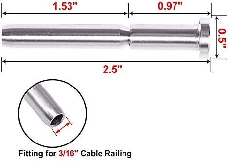 ACAMPTAR 20 Piezas Receptor Invisible y Extremo de Perno de Estampaci/óN para Barandilla de Cable de 3//16 de Pulgada Escalera Fijaci/óN para Poste de Madera y Metal T316 Acero Inoxidable
