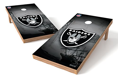 Wild Sports NFL Oakland Raiders 2' x 4' Authentic Cornhole Game Set - Oakland Athletics Dart
