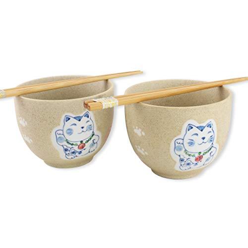 ラーメンボウル [Set of 2] Japanese Porcelain Ceramic Bowls w Chopsticks Ramen Soup Noodle Porridge Menudo Ramen Udon Pasta Cereal Ice cream Pho Rice Instant Noodle ~ We Pay Your Sales Tax (Lucky Cat)