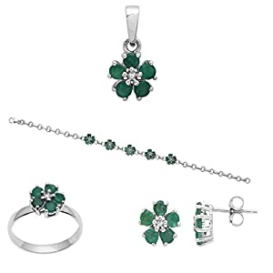 Emerald Gemstone Pendant Earring Set With Ring Bracelet in 925 Sterling Silver Jewelry