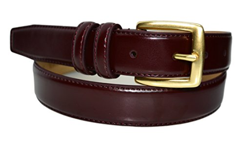 0211-COR-42 - Toneka Mens Feather Edge Leather Dress Belt Cordovan 42 (fits 40