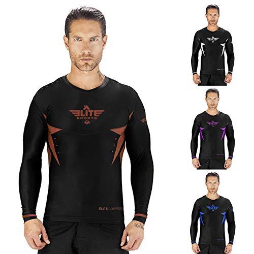 - Elite Sports New Item Star Full Sleeve Compression, MMA, BJJ, No-Gi, Cross Training Rash Guard (Brown, X-Large)