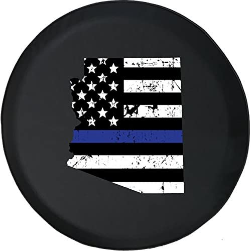 556 Gear Arizona - Thin Blue Line Distressed American Flag Jeep RV Spare Tire Cover Black 33 in free shipping