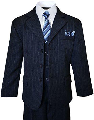 Black n Bianco Boys Dark Navy Pinstripe Suit complete outfit dresswear Size ()