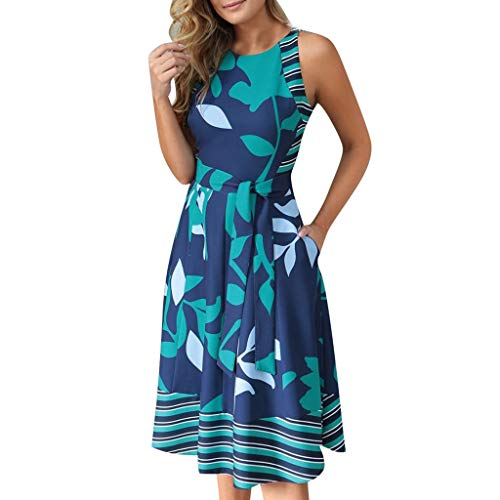 Clearance! Swiusd Women's Floral Print Boho Dresses Comfy A Line Midi Dresses Elegant Sleeveless Strap Beach Party Dresses with Belt (Blue, XXL)