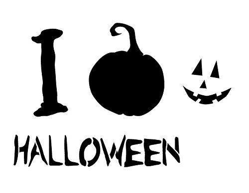 I Love Halloween - Pumpkin - Word Art Stencil - 17